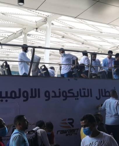 استقبال هداية ملاك وسيف عيسي في مطار القاهرة بعد برونزيتي أولمبياد طوكيو 2020