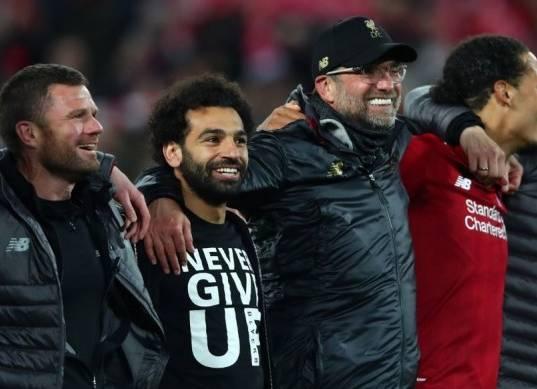 احتفالات لاعبي ليفربول بعد الريمونتادا التاريخية أمام برشلونة