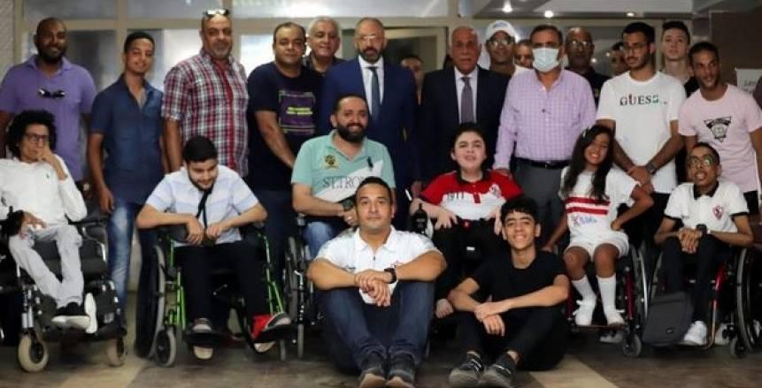 اجتماع حسين لبيب مع مشجعي نادي الزمالك من ذوي الهمم لحل أزمة حضور المباريات
