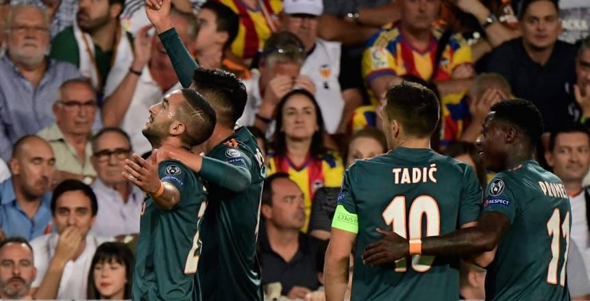 مباراة أياكس وفالنسيا بدوري أبطال أوروبا