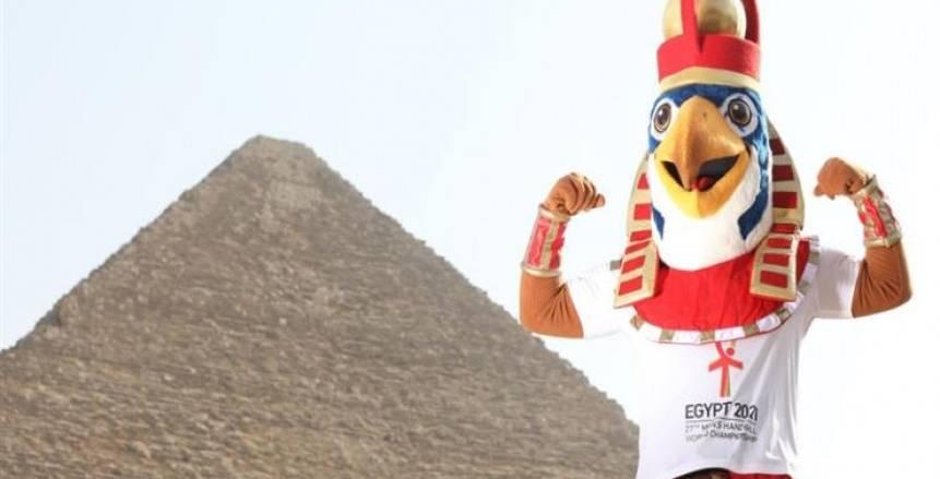 تعليق تميمة كأس العالم لليد بطريق الإسكندرية استعدادا للبطولة