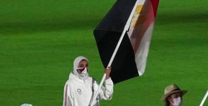لحظة رفع جيانا فاروق للعلم المصري في حفل ختام أولمبياد طوكيو 2020