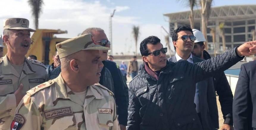 وزير الرياضة يتفقد الصالة المغطاة ومبنى الوزارة بالعاصمة الإدارية