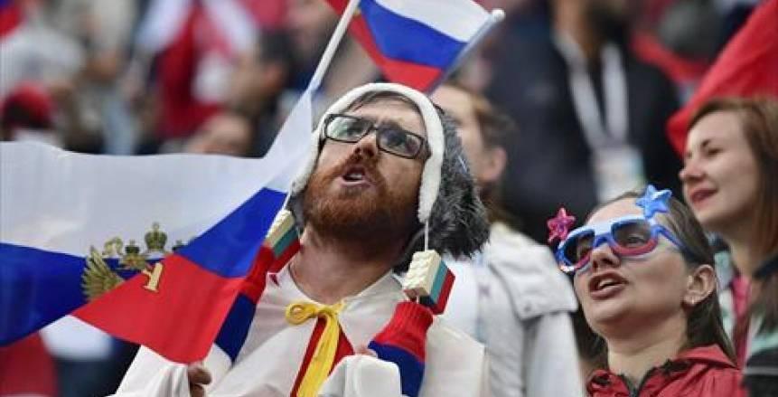 جماهير مصر  تشعل ملعب مباراة روسيا بكأس العالم