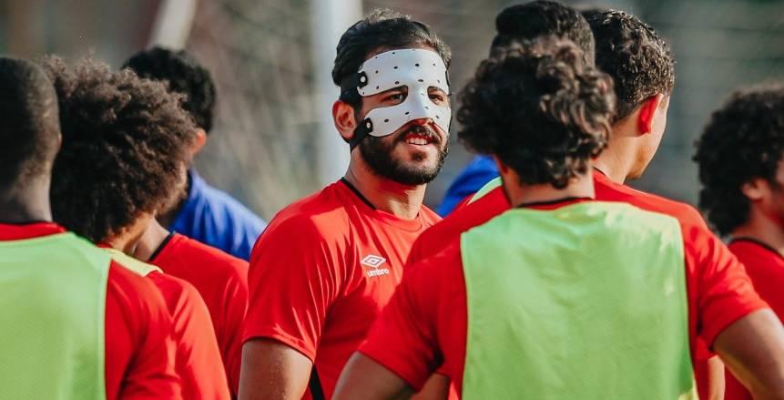 مروان محسن يشارك في تدريبات الأهلي لأول مرة بقناع أبيض