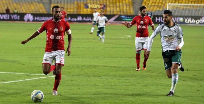 الأهلي يتقدم على المصري في الشوط الأول بقدم «أحمد حمدي»