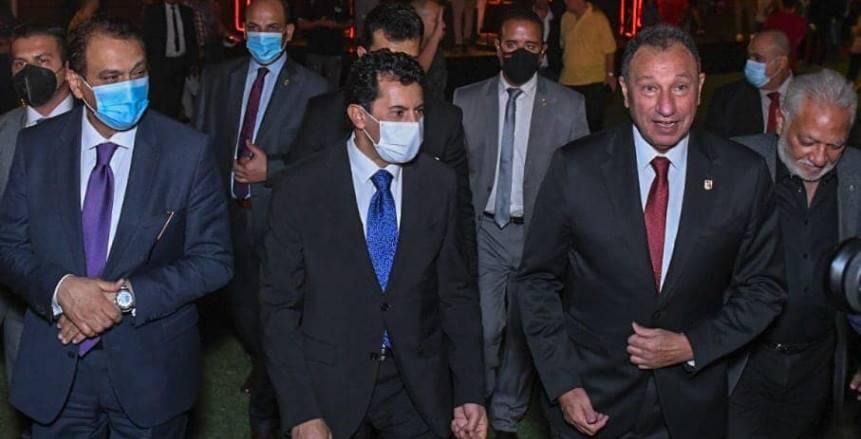 وزير الرياضة وأحمد مجاهد وحسن حمدي يتقدمون الحضور باحتفالية الأهلي «صور»