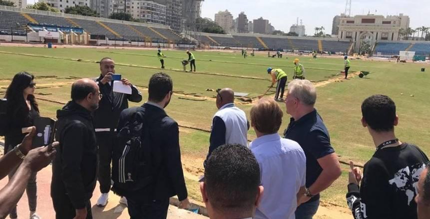بالصور| لجنة ملاعب أمم أفريقيا تزور الاتحاد السكندري للوقوف على آخر الاستعدادات للبطولة