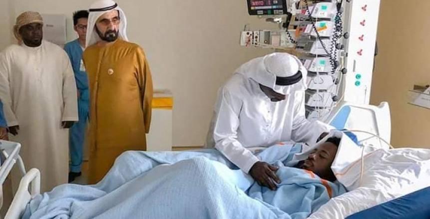 نائب رئيس دولة الإمارات يزور المصري أحمد ربيع بعد نجاته من الموت