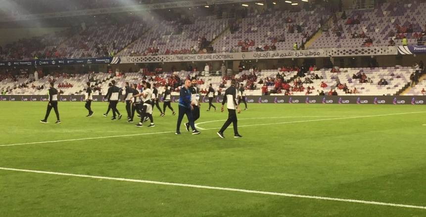 بالصور| لاعبو المصري يتفقدون ملعب هزاع بن زايد قبل مواجهة الأهلي