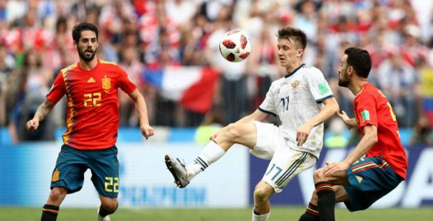 التعادل يسيطر على الشوط الإضافي الأول من مواجهة إسبانيا وروسيا
