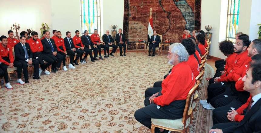 لقاء الرئيس عبد الفتاح السيسي مع لاعبي المنتخب قبل السفر لخوض منافسات كأس العالم