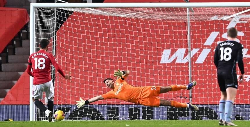 مانشستر يونايتد يجاور ليفربول في الصدارة بهدف برونو ضد أستون فيلا