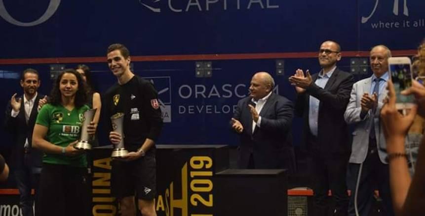 رنيم الوليلي وعلي فرج يفوزان ببطولة الجونة الدولية للإسكواش