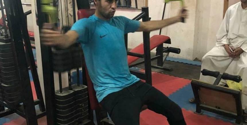 بالصور| بسبب خلافه مع مرتضى.. محمد ابراهيم يتدرب في جيم متواضع