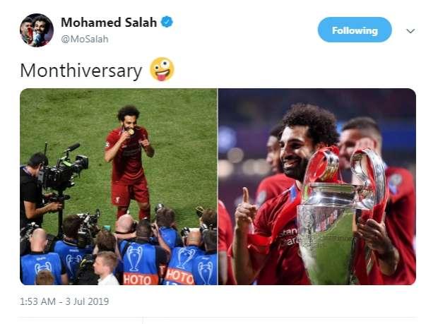 شاهد - صلاح يحتفل بمرور شهر على التتويج بدوري الأبطال